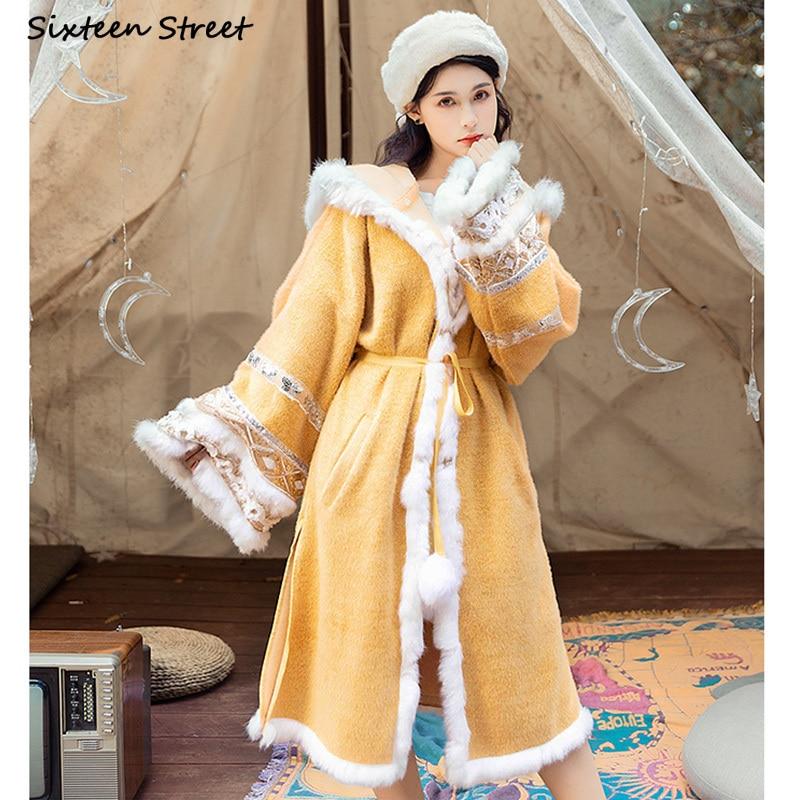 Gypsy Woolen Women Coats and Jackets Winter Boho Yellow Hooded Woolen Coat Women Keep Warm Autumn Lace-up Cardigan Vintage