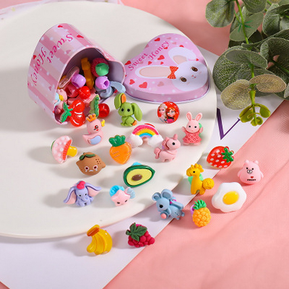 10pcs/set Fruit Baby Hair Claw Clip With Box Cute Hairclip Candy Bar Hairpin Girls Flower Barrette Kawaii Kids Accessories