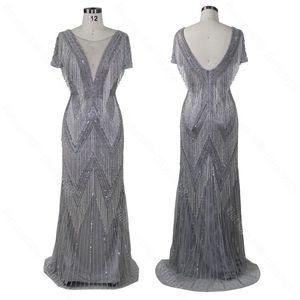 Image 1 - 2020 Con Scollo A V design nuovo arriva il vestito da promenade del vestito da sera che borda il vestito