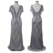 2020 nuevo vestido de noche con diseño de cuello en V vestido para graduación con cuentas