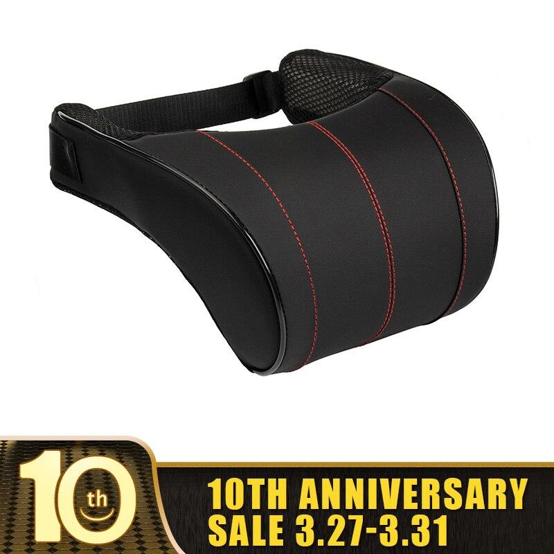 1Pcs 3 Colors PU Leather Auto Car Neck Pillow Memory Foam Car Pillow Neck Rest Seat Headrest Cushion Pad High Quality