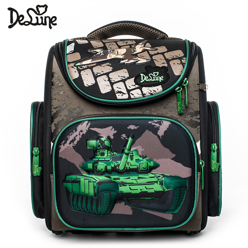 Delune 1-3 Grade Children Orthopedic Back School Bag Green Tank 3D Kids School Satchel Zipper Around Folden Truck Cars Sac A Dos
