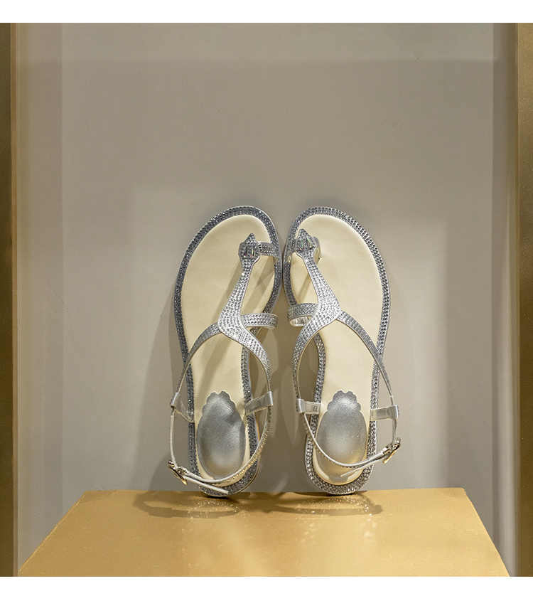 Plaj sandaletleri kadın klip ayak kristal Sandalias Mujer 2020 tatil Sandalia Feminina yaz açık ayakkabı kadın Zapatos De Mujer