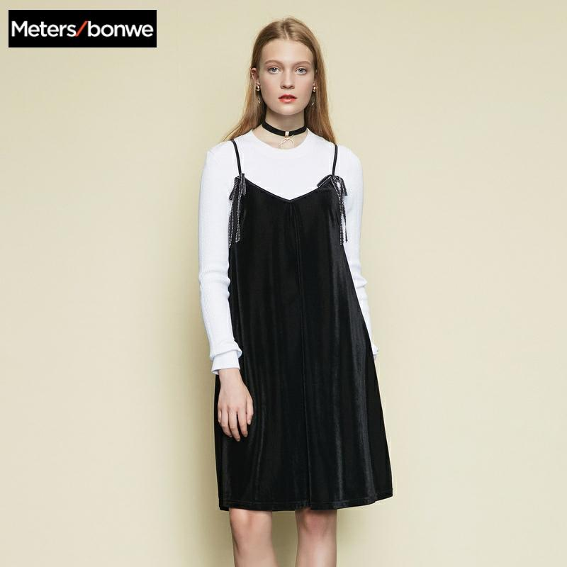 Metersbonwe marque flanelle licou ceinture vintage femmes robe printemps 2019
