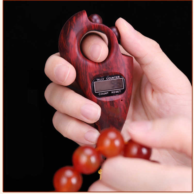 DUMGRN Digital Finger Counter Buddha Beads Counter for Prayer with LCD Display Mini Chanting Counting Machine for Buddhist Meditation Finger Game
