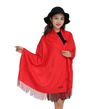 Fashion Female Cashmere Blanket Scarf Solid Color Thickened Tassels Shawl For Women Ladies Warm Wrap Shawl Luxury Winter Scarf