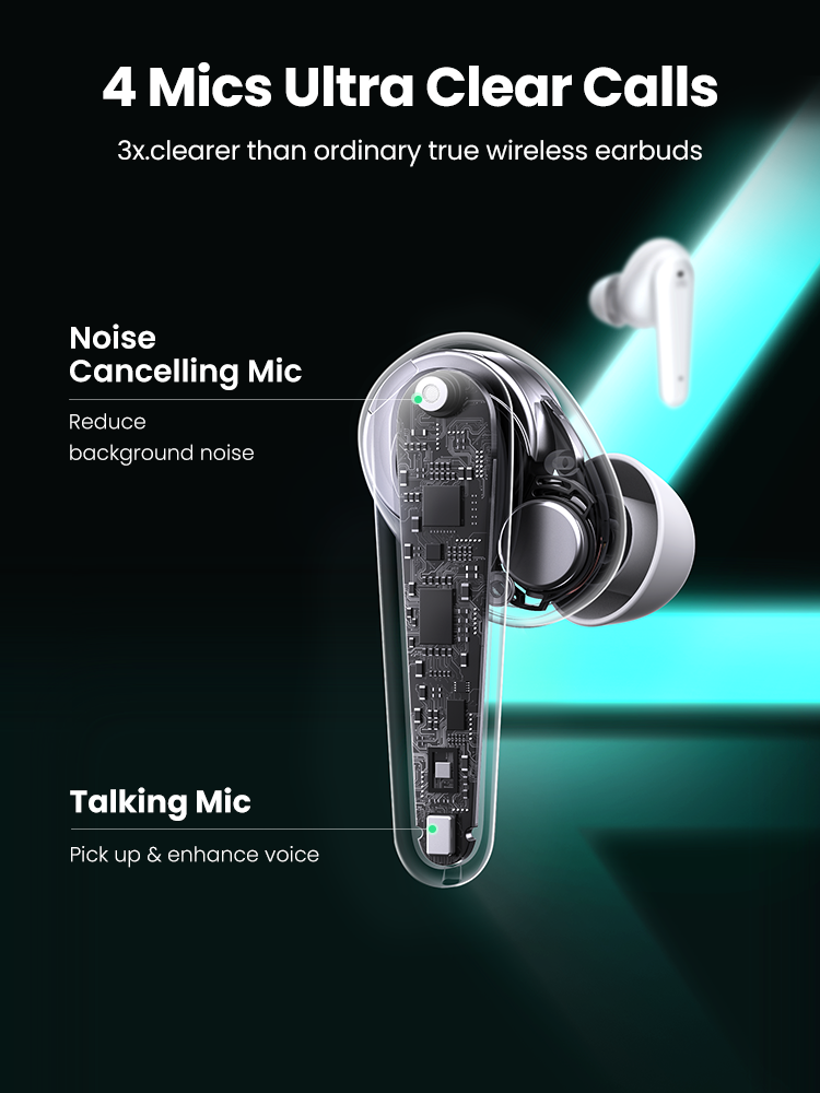 UGREEN HiTune T1 Wireless Earbuds with 4 Mics TWS Bluetooth 5.0 Earphones True Wireless Stereo 24H Playing USB C Charge Earphoe