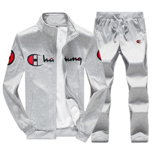 autumn winter men sport suit sweatsuits fleece printed zip up jacket sweatshirt+pant casual jogger running outfit set sportswear