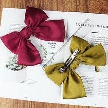 Hair-Clip Ponytail Girls Women Bow Bohemian Knot for Children Silk Oversized Bow-Tie