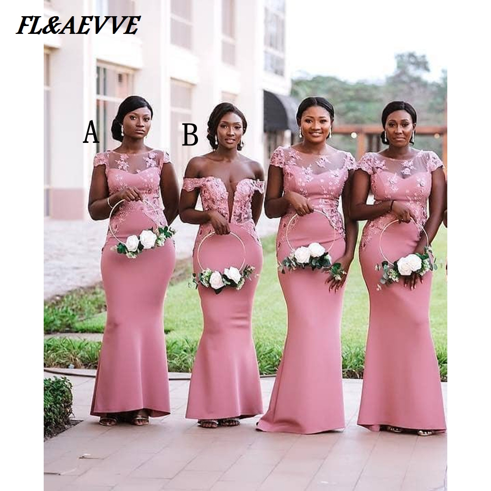 In Stock Mermaid   Bridesmaid     Dresses   Lace Appliqued Sexy African   Bridesmaids     Dress   Illusion Neck Wedding Party