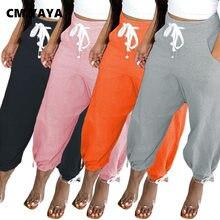 CM.YAYA Active Women solidne szarawary z wysokim stanem Jogger sportowe spodnie dresowe