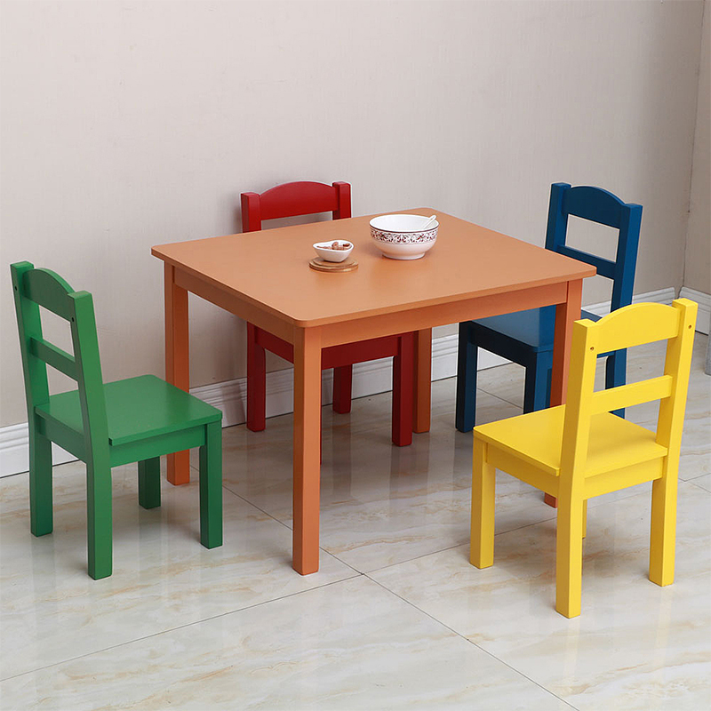 5Pcs/Set Children's Table Chair Set 1Pcs Table+4Pcs Chair Children's Pine Wooden Tables Dining Table Writing Desk Furniture Sets