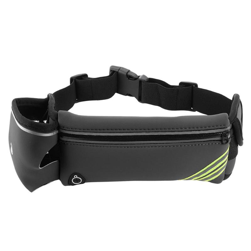 Water Bottle Waist Bag Travel Casual Waist Packs With Earphone Hole Women Men Round Belt Bag Waterproof Polyester Waist Bag