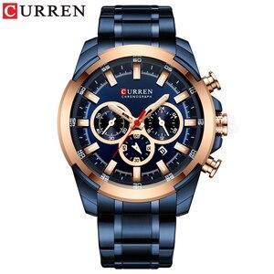 Image 4 - CURREN موضة ساعات الفولاذ عادية للرجال كوارتز ساعة اليد كرونوغراف ساعة رياضية مؤشرات مضيئة ساعة الذكور