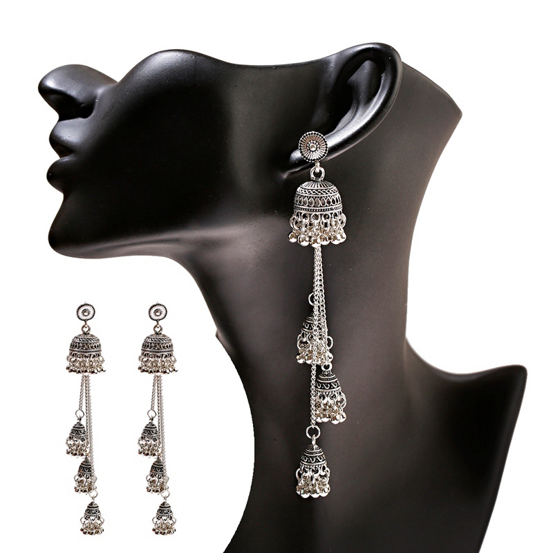 Ha16c4287320b4bf493e7b525d975033dY - Ethnic Gold Afghan Long Tassel Bead Drop Earrinngs Bollywood Jewellery Bell Jhumka Indian Earrings Wedding Jewelry