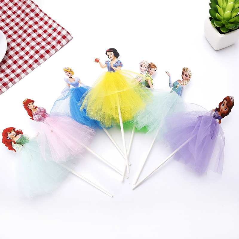 1st Birthday Decorations Girl Happy Birthday Cupcake Toppers With Sticks White Snow Princess Party Cupcake Toppers Decor Supplie