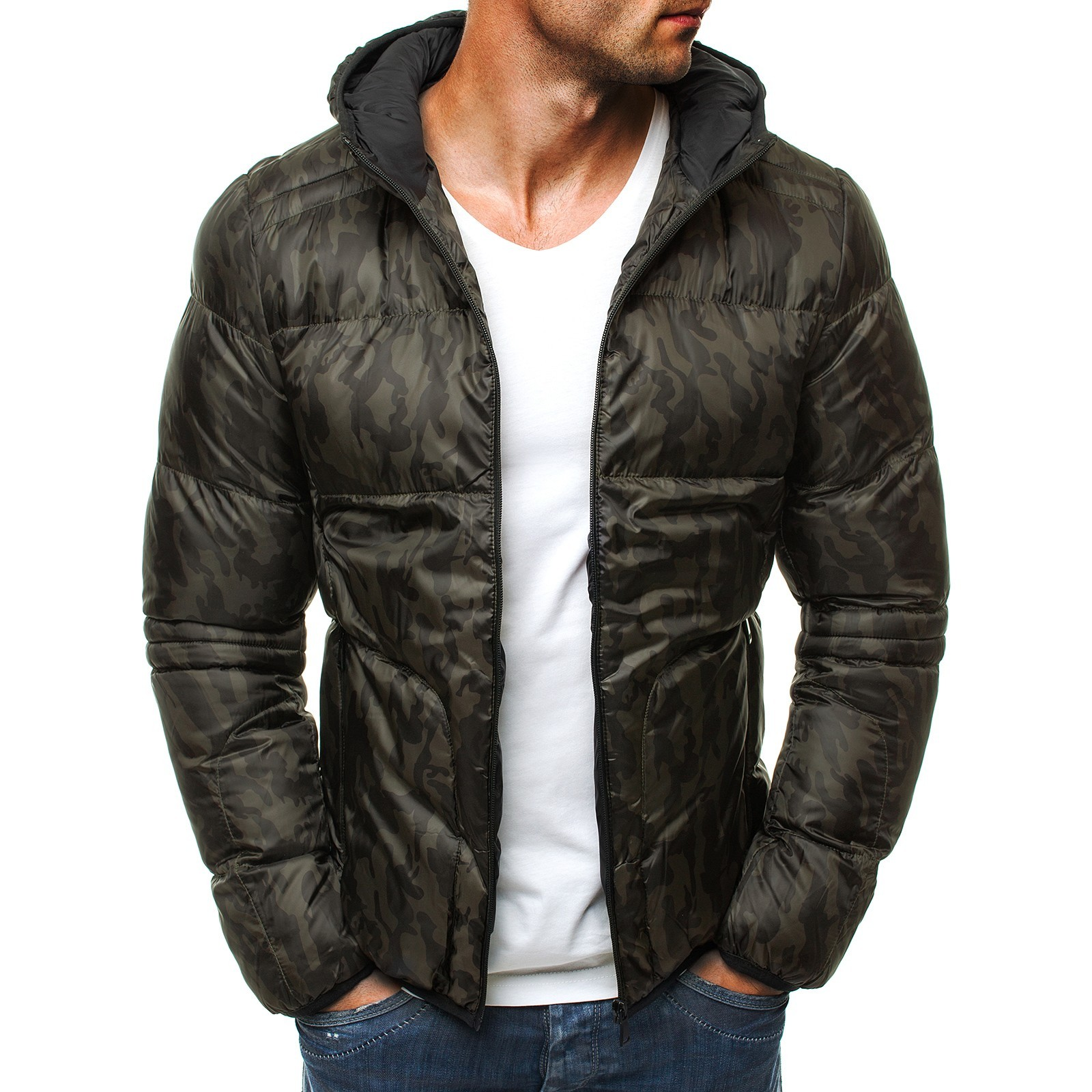 fashion print men hooded jacket winter zipper parka coats 2019 slim thicke