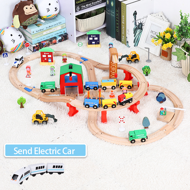Wooden Train Track Set Kids Wooden Railway Puzzle Slot Transit Wood Thoman Tracks Rail Transit Train Railway Toys For Children