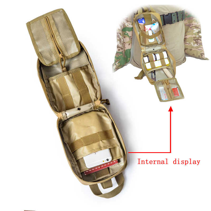 Molle טקטי העזרה הראשונה ערכות רפואי תיק חירום חיצוני צבא ציד רכב חירום קמפינג הישרדות כלי צבאי EDC פאוץ