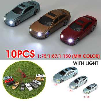10pcs 1:75 HO Scale Architecture Plastic Model Painted Car Toys Miniature Color Cars For Diorama Model Buildings Making Kits image