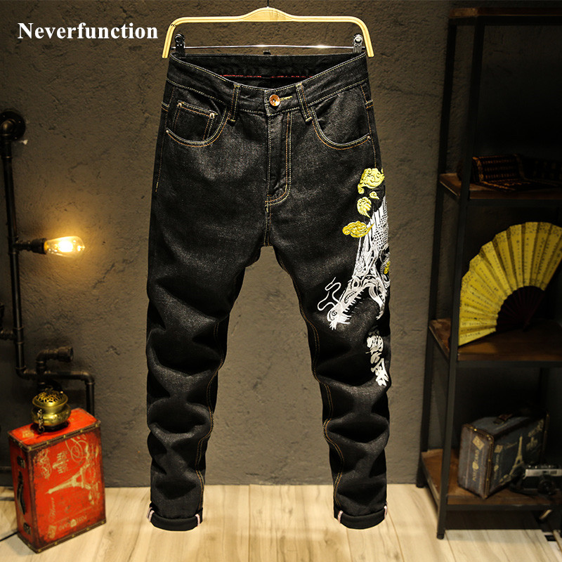 Men Chinese Wind Hip Hop Dragon Embroidery Black Slim Fit Straight Jeans Japanese Streetwear Mens Casual Joggers Denim Pants