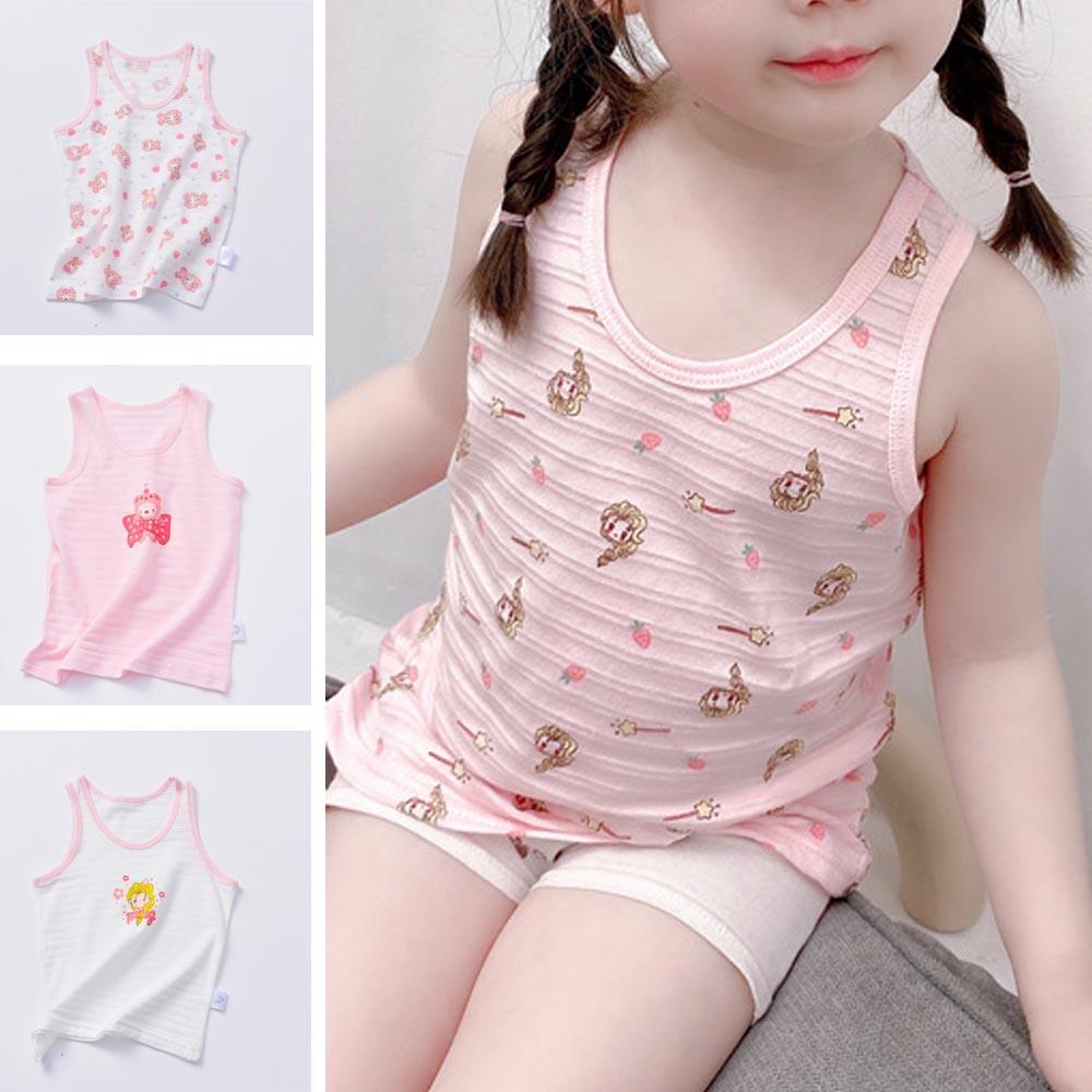 V-TREE Summer Tank Tops For Baby Girls Boys Vest T-shirt Kids Casual Sleeveless Cotton Tshirts O Neck Cartoon Undershirt