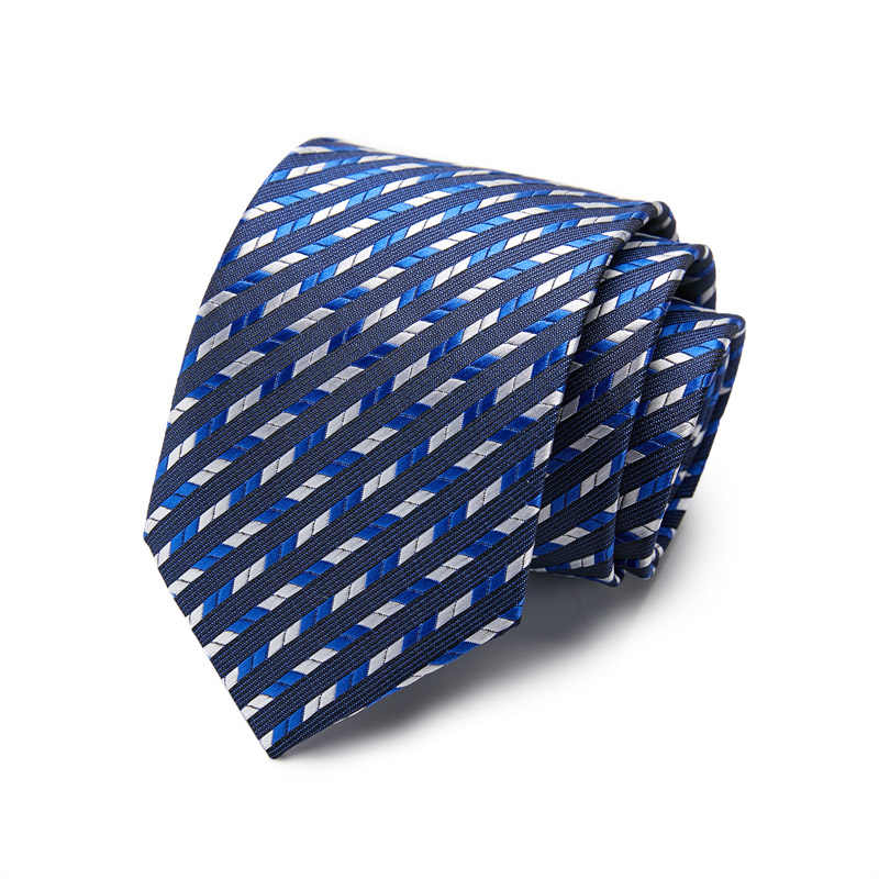 Klasyczny 100% jedwabny męski krawat moda w kratę w paski żakardowy jedwab krawat biznes formalne wesele 7.5cm akcesoria 10061