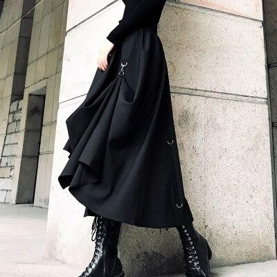 High Waist Splicing Buckle Irregular Gothic Skirt Harajuku Punk Style Skirts Black Streetwear Freely Adjustable Gothic Skirt