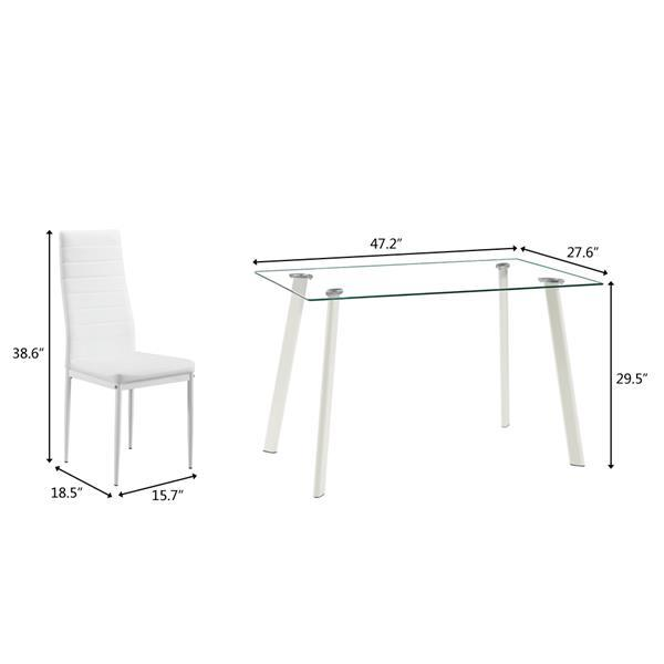 White Glass Dining Table Set w/ 4 Chairs  3