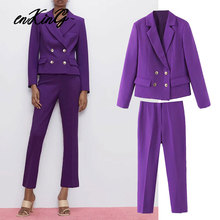 2020 england office lady vintage double breasted solid blazer feminino blazer women suit pants women trousers women 2 pieces set