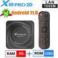 X88 PRO 20 Смарт Android 11 ТВ коробка 8 Гб Оперативная память 64 Гб 128 Встроенная память RK3566 2,4G 5G WiFi 1000M LAN Bluetooth 4K HD Декодер каналов кабельного телевиден...