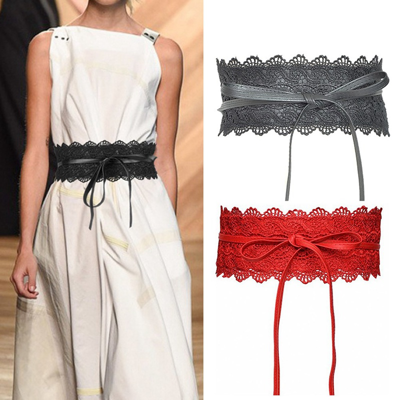 Fashion Belts For Women Faux Leather Lace Wide Belt Female Bowknot Weaving Belt Boho WaistBand
