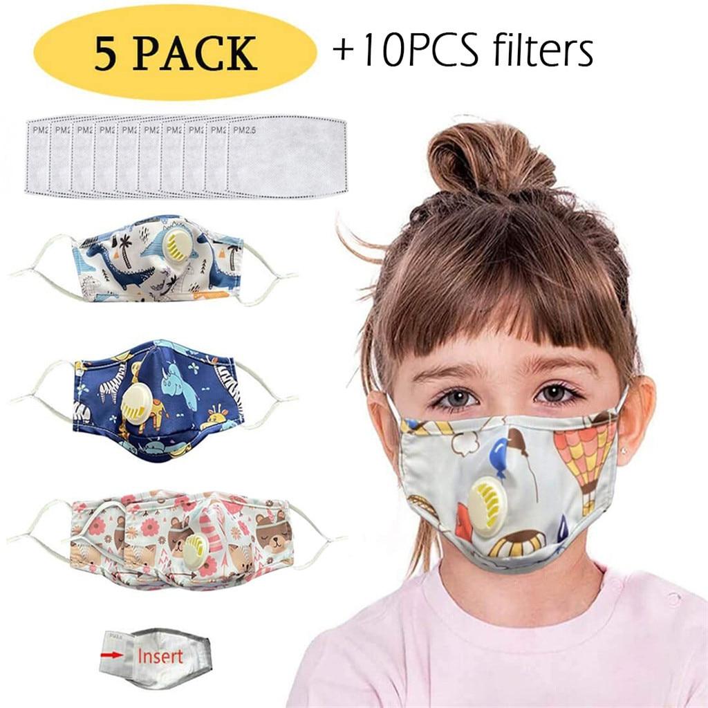 5PCS Fashion Cartoon Reusable Children Dustproof Mask For Kids Breath Valves Mouth Face Mask PM2.5 Filters Washable Mouth Mask