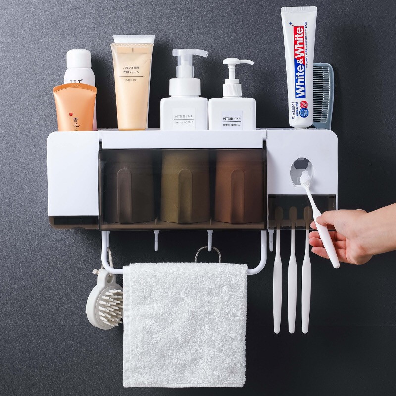 New Toothbrush Holder Automatic Toothpaste Dispenser With Cup Wall Mount Toiletries Storage Rack Bathroom Accessories Set