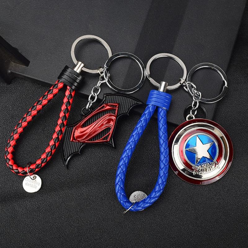 Iron Man Keychain Ring-Holder Lanyard Metal Car America Captain And Toy Hang-Rope DIY