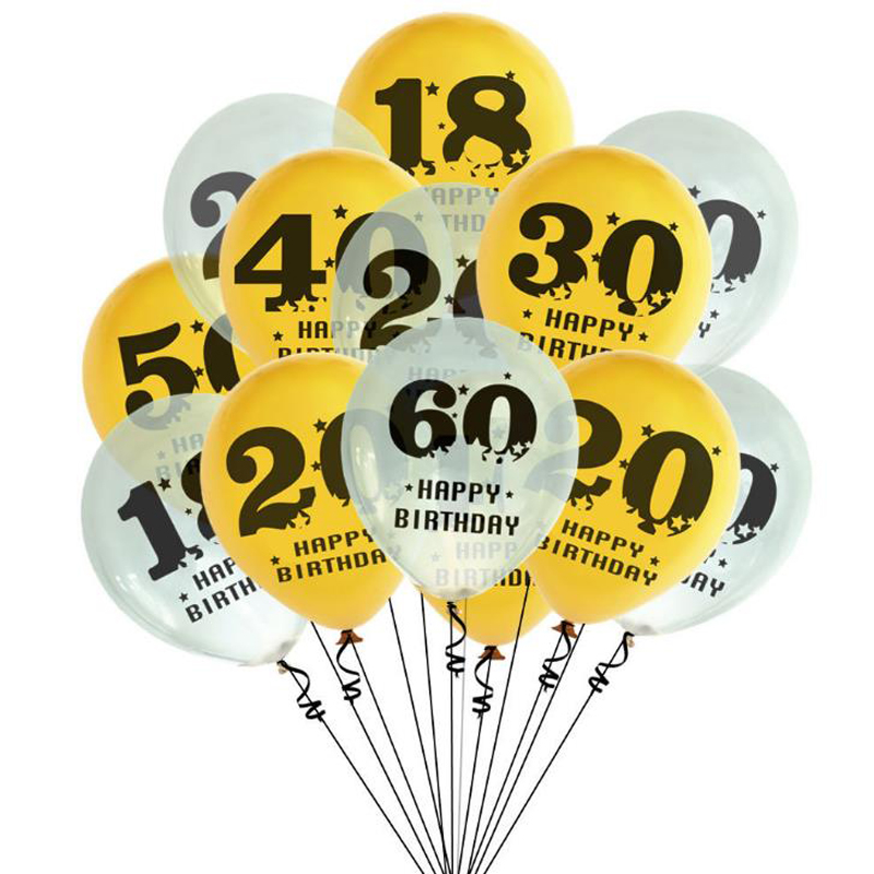 10 Pcs/set Kawaii Number 18 20 30 40 <font><b>50</b></font> 60 Years Old <font><b>Birthday</b></font> Digital Balloon Latex Balloons <font><b>Happy</b></font> <font><b>Birthday</b></font> Party Decorations image