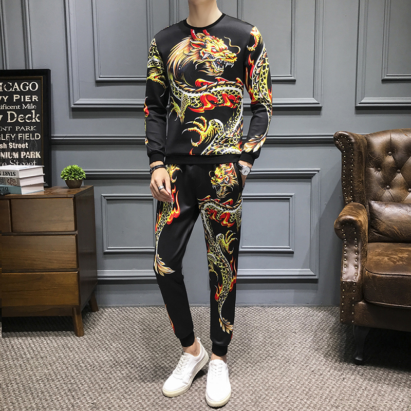 Luxury Dragon Print Men's Sets Street Hip Hop Pullover Tracksuit +Jogger Pants Suits Casual Sweatshirts+Sweatpants 2 Piece Sets