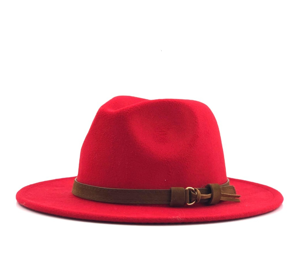 Ha16d541bbbc3476c84842e13bc1c2a02L - Women Men Wool Fedora Hat With Leather Ribbon Gentleman Elegant Lady Winter Autumn Wide Brim Jazz Church Panama Sombrero Cap