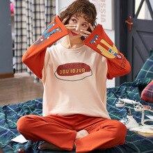 2019 Stylish Simplicity Pyjama Set Ladies Sleepwear Cute Cartoon Printed Long-sleeved Cotton Comfort Leisure Wear Household