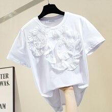 Summer White Tshirt Woman Stereo Pleated Flower Design Elega