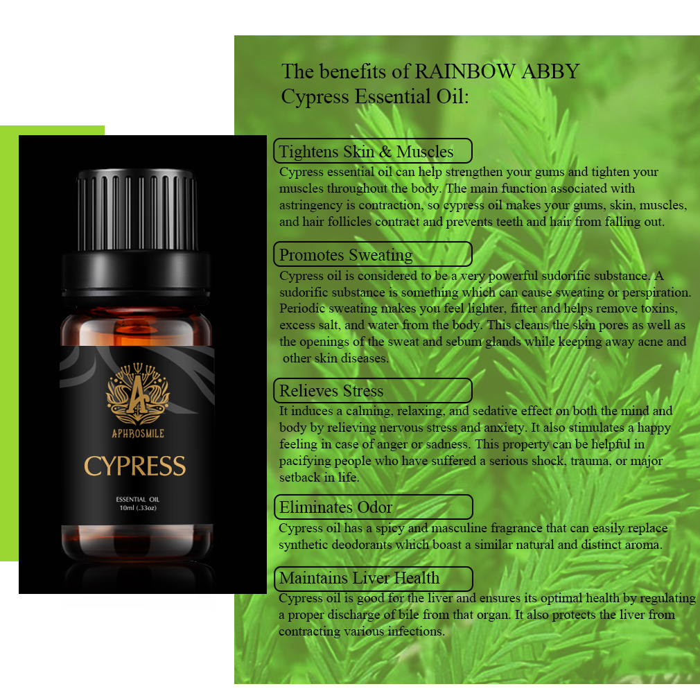 10ml Cypress Essential Oil For Diffuser Burner Organic Relieve Stress Air Freshening Humidifier Oil 100% Pure Natural Oil