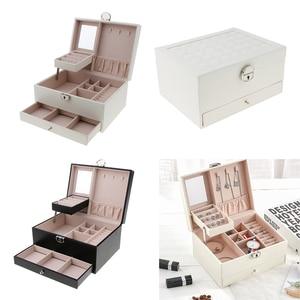 Image 2 - Multicamadas de couro brincos portáteis anel do parafuso prisioneiro jóias armazenamento exibir caixa jóias embalagem presente exibição para as mulheres
