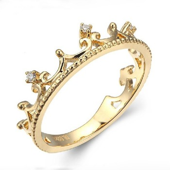 Luxury Elegant Crown Diamond 18K Solid Real Genuine Gold AU750 Rings Bands for Women Upscale Fancy Anniversary Office Jewelry 1