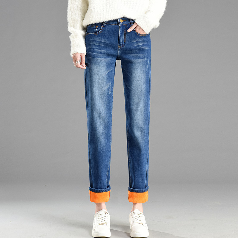High-waisted Brushed And Thick Straight-Cut Jeans WOMEN'S Pants Elasticity Slimming Loose-Fit Trousers Autumn & Winter