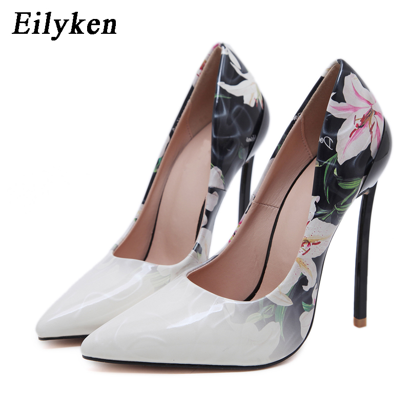 EilyKen White Black Flower Pointed Toe Stiletto Heel Pumps PU Leather Mixed Color Women Wedding Party Shoes Size 35-42