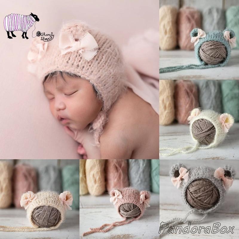 bebe recem nascido fotografia aderecos bebe menina mohair urso chapeu infantil acessorios da foto do bebe