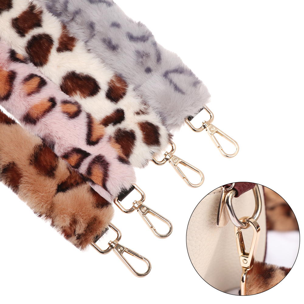 Plush Faux Fur Bags Strap Belt For Women Replacement Shoulder Bag Handbag Straps Decorative Chain