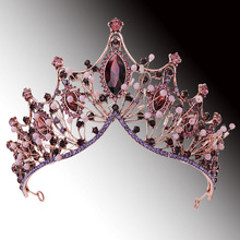 Crowns Pageant Head-Accessories Jewelry Tiaras Crystal Royal-Queen Purple Princess Wedding-Hair