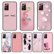 Castelo gato rosa caso do telefone capa casco para samsung note20 10 9 8 4 pro plus preto prime macio pára-choques transparente