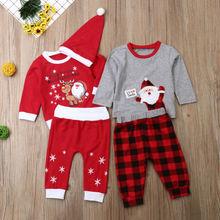 Детский Рождественский комбинезон с длинными рукавами и рисунком для маленьких мальчиков и девочек, футболка, штаны, шапка, наряд Рождественский комплект, осенне-зимняя одежда